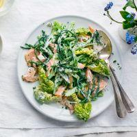Runner bean, samphire and trout salad - lemon, creme fraiche, lettuce, spring onions Sea Food Salad Recipes, Summer Salad Recipes, Summer Salads, Summer Food, Fish Salad, Seafood Salad, Seafood Dishes, Trout Recipes, Bean Recipes