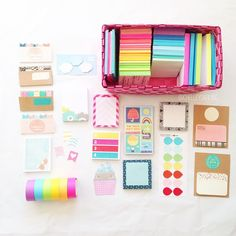 "Sticky notes! My favorite ""sticky note"" right now is the neon rainbow pack of kids tape from Target. I really need to get more of it!  Do you see the page flags from the free printable I created and..."