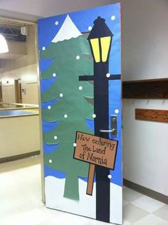 A teacher's classroom door for a Narnia Unit Christmas Classroom Door, Christmas Door Decorations, Classroom Ceiling Decorations, Classroom Decor Themes, School Displays, Classroom Displays, 4th Grade Classroom Setup, Classroom Cubbies, Classroom Signs