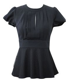 Black Pleated Peplum Top | Daily deals for moms, babies and kids