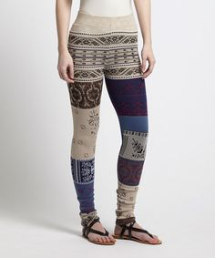 What's the chance these would stay up? == Take a look at this Ivory & Blue Patchwork Leggings on zulily today!