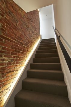 Stairway lighting Ideas with spectacular and moderniInteriors, Nautical stairway, Sky Loft Stair Lights, Outdoors Stair Lights, Contemporary Stair Lighting. Staircase Lighting Ideas, Stairway Lighting, Modern Staircase, Staircase Design, Strip Lighting, Basement Lighting, Led Stair Lights, Kitchen Lighting, Wall Lighting