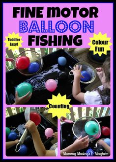 Mummy Musings and Mayhem: Balloon Fine Motor Fishing Fun! Water Play Activities, Motor Activities, Sensory Activities, Craft Activities For Kids, Educational Activities, Toddler Activities, Play Activity, Sensory Play, Sensory Table