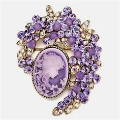 Amethyst and diamond brooch #VintageJewelry