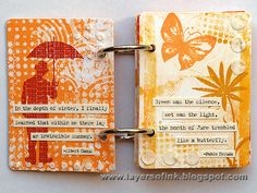 """""""I made a whole bunch of prints and first planned to make three ATCs but I liked my papers so much, I made an ATC mini-book instead.  I collected quotes about summer and sunshine. This happy little book was the perfect home for those quotes."""""""
