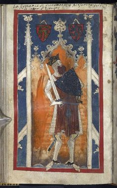 Egerton_ms_3028_f083v.  BRITISH LIBRARY MANUSCRIPT COLLECTION DIGITISED;  ...Charlemagne, England, 2nd quarter of the 14th century, Egerton MS 3028, f. 83v -