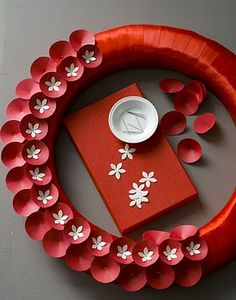 red paper wreath