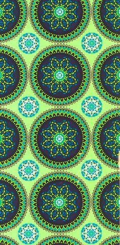 Blue green circles on green pattern fabric.com