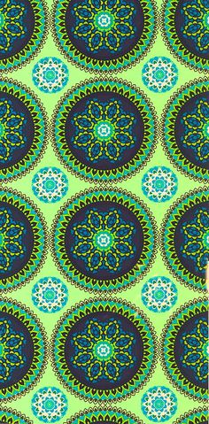 Blue green circles on green pattern fabric.com