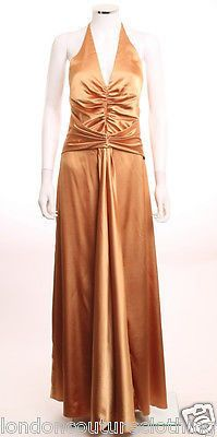 JESSICA MCCLINTOCK RUCHED HALTER BODICE A-LINE SKIRT COPPER FORMAL DRE – London Couture #glamnewyearseve