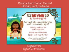 Personalized Moana themed birthday party invitation. This will come to you as a DIGITAL JPEG file for you to e-mail or print and send to your guests. No printed invitations will be mailed to you. At checkout please add in your message: 1. Birthday age, 2. Names of birthday child 3. Date of Party 4. time of party 5. Party location name and address 6. RSVP info 7. Dinner, lunch, or treats provided 8. Type of party or any additional information you would like added to the invitation 9…