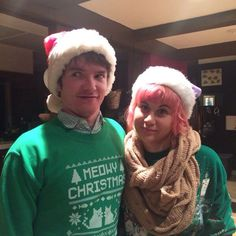 Ross And Holly W Christmas Jumpers Hats