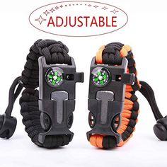 #fishingshopnow Survival Bracelet Paracord Military Bracelet Buckle Tool Adjustable Rope Accessories Kit, Fire Starter, Knife, Compass,…