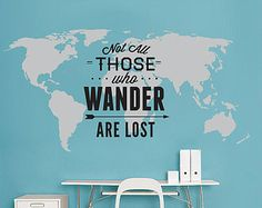 Wanderlust World Map Decal Large World Map by homeartstickers