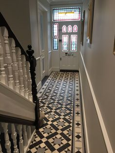hallway flooring Contemporary Hallway Tiles,Contemporary Hallway Tiles 15 Stairway Lighting Ideas For Modern And Contemporary Interiors, Edwardian Hallway, Edwardian Haus, Victorian Hallway Tiles, Hall Tiles, Tiled Hallway, Hallway Carpet, Entryway Stairs, Exterior Stairs, Front Stairs