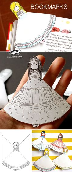 Printable bookmarks - girl with dress to color, dresses. These are adorable for…