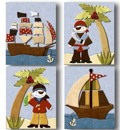 Pirates Cove set of 4 paper prints for baby by art4theLITTLEpeople, $20.00