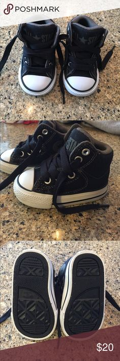 High top Toddler Converse Sneakers Adorable black high tops! In nearly perfect condition, only worn a few times Converse Shoes Baby & Walker