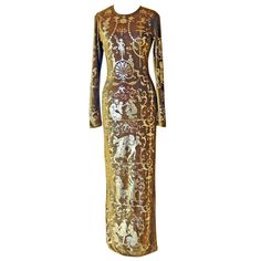 """Vivienne Westwood, """"Portrait"""" Collection dress, Fall/Winter 1990. Stretch velvet imprinted in a gold foil stencilled print."""