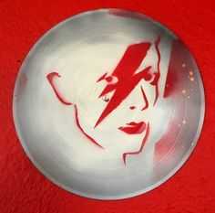 #DavidBowie, Shine on #Starman, spray paint Stencil on a Vinyl Record by @replAvinyl #replA @etsy