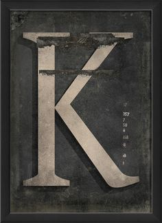 Letter K Framed Textual Art In Black And Gray