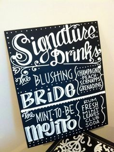 Handwritten 11x14 Chalkboard Wedding Menu Bar Drink by maryandjack, $40.00 signature drinks sign