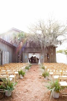 Would be cool if ceremony was on one side of wedding facing barn and cocktail reception directly on the other side.
