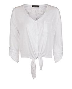 White Lace Up Button Tie Front Top  | New Look