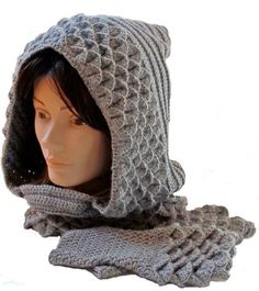 This Crocodile Stitch hood and fingerless gloves were crocheted in Grey Heather for a client in Denmark.