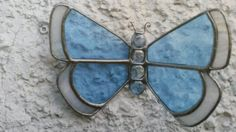 Stained Glass Aqua Blue Wall Butterfly