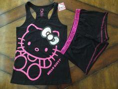 NWT Womens HELLO KITTY Pink Black Boxers Sleep Shorts & Tank Top Set SEQUINS  #HelloKitty #SleepwearSet