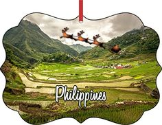 Santa  Sleigh Over the Batad Rice TerracesDoubleSided Flat Benelux Holiday Tree Ornament Made in the USA *** For more information, visit image link.