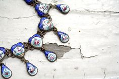 Antique Persian Qajar Necklace Enamel Hearts Birds