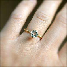 Gold Vermeil Aquamarine Beaded Band Ring by illuminancejewelry