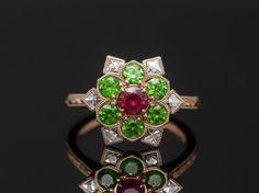 French Cut Diamond, Green Garnet And Ruby Ring by David Klass Jewelry Snowflake Ring, Gemstone List, Star Flower, Halo Rings, Garnet, Diamond Cuts, Heart Ring, David, Bling