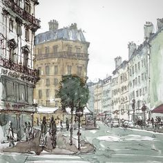 This sketch was made from Café M on Rue de Châteaudun in the (while waiting for my laundry! Haussmann, Urban Sketchers, Watercolor And Ink, More Pictures, Sculpture Art, Concept Art, Around The Worlds, Street View, Photos