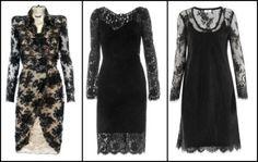 Above Left - Alexander McQueen - Black Lace Dress -    Centre - Dolce & Gabbana - Black Lace Dress -    Right - Day Birger et Mikkelsen - Long Sleeve Black Lace Dress