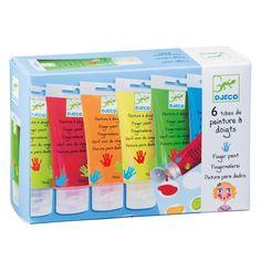 6 bouteilles de peinture à doigts Djeco pour enfant de 1 an et demi à 4 ans - Oxybul éveil et jeux