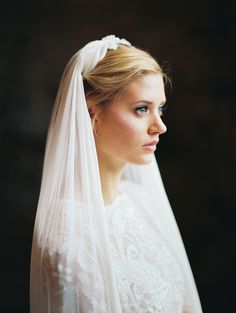 Silk tulle veil with silk petal detail / hushed commotion veil / image by kate ignatowski
