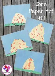 Torn Paper Ant Hills With Fingerprint Ants - Easy to make ant craft for kids - 3Dinosaurs.com #3dinosaurs #bugcraftsforkids #craftsforkids #finemotor #ants