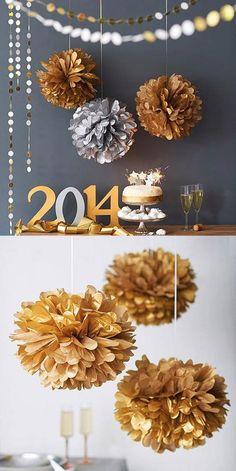 Idées de décoration de table du jour de l'An ponpons