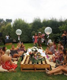 Friends and family gathered round a rustic pallet picnic table ~ Food, drinks and music to dance the night away under the stars picnic table ideas 33 Best Summer Party Ideas in Backyards - Boho Garden Party, Garden Party Decorations, Garden Parties, Summer Parties, Backyard Parties, Bohemian Party, Birthday Decorations, Bohemian Birthday Party, Outdoor Decorations