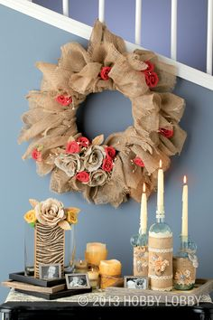 Now that burlap is available in fun colors (like mustard yellow and turquoise blue) and exciting patterns (such as animal print and chevron), it's become an even more versatile textile. Try your hand at a très-chic burlap wreath or burlap-wrapped vases and bottles.