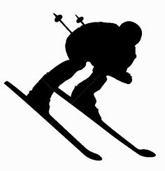 Downhill Snow Skier Vinyl Wall Decal - Skiing Silhouette Decor for Home, Lodge, Resort Silhouette Vinyl, Silhouette Portrait, Ski Vintage, Snow Skiing, Winter Art, Ski And Snowboard, Winter Olympics, Olympic Games, Kayaking