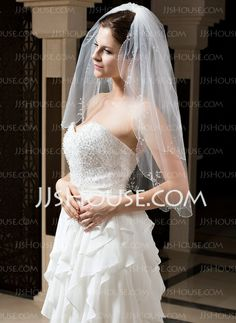 Wedding Veils - $21.99 - Two-tier Fingertip Bridal Veils With Beaded Edge (006035769) http://jjshouse.com/Two-Tier-Fingertip-Bridal-Veils-With-Beaded-Edge-006035769-g35769