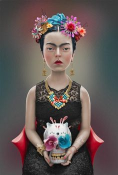 Painter Frida Kahlo was a Mexican self-portrait artist who was married to Diego Rivera and is still admired as a feminist icon. Diego Rivera, Frida E Diego, Surrealism Painting, Pop Surrealism, Mexican Artists, Art Dolls, Illustration Art, My Love, Beauty
