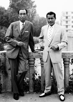 "AKIRA KUROSAWA & TOSHRO MIFUNE, c.1954, the director of ""Seven Samurai"" and his leading man in many classics."