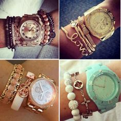 Watches make me melt:)  bracelets to accesorize it is a must!