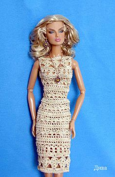 Barbie wearing a Beautiful Crocheted Dress