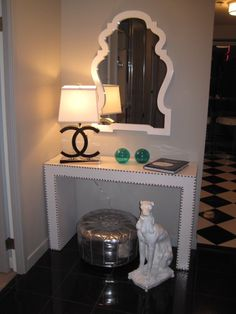 entrances/foyers - Jonathan Adler Queen Anne Mirror Interior Illusions CC Lamp silver pouf ottoman Foyer in Chicago